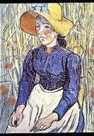 Young Peasant Woman with Straw Hat Sitting in Front of a Wheat Field
