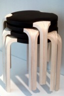Three Legged Stacking Stools with Fan-Shaped Legs