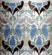 Wallpaper Design: Brown, Blues and Pink Birds