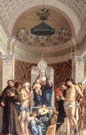 Virgin and Child Enthroned with Saints Francis, John the Baptist, Job, Dominic, Sebastian, and Louis of Toulouse