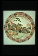 Famille Verte Dish: Figures in Landscape