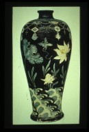 Vase: Incised Lotus Motif with Black Ground