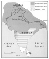 Indian Subcontinent Showing the Extent of Mughal Control in 17th and 18th Centuries