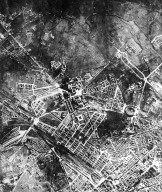 Aerial View of Rome in the 20th Century in the Area of the Termini Station, Colosseum, and Appio Quarter