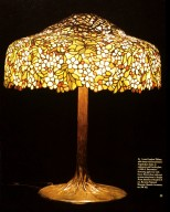 Louis Comfort Tiffany Table Lamp: Flowering Apple Tree with Leaves
