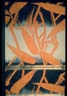 Silk Obi Cloth with Orange Plant Motif