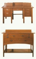 Desk with Copper Pulls / Sideboard with U-Shaped Iron Pulls
