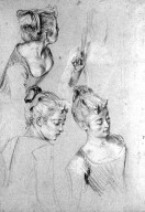 Three Studies of a Woman and a Study of Her Hand Holding a Fan