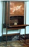 Oak Writing Desk with Pierced Copper Hinges