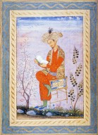 Baburnama: Babur Seated on Chair Reading a Book