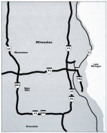Map Showing Milwaukee and Suburbs with Major Interstates