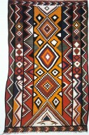 Wool Kilim With Lozenge Pattern