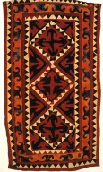 Turkmen Felt Rug with Positive-Negative Forms