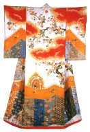 Furisode with Maple Trees, Curtain and Drums