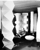 Isamu Noguchi with Akari Pod Lamp and Light Sculptures