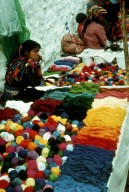 Selling Colored Yarn at the Market at Chichicastenango