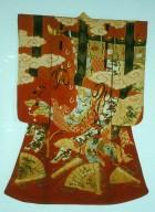 Red Kimono with Yuzen Dyeing