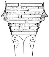 Detail of Tunisian Brick Capital: 60 Percent Mortar, 40 Percent Brick