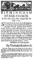 Birmingham Stage Coach Advertisement