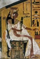 Queen Nefertari Seated Under Baldachin