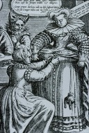 Engraving of a Woman Being Fitted