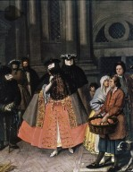 Masked Figures with a Fruit Seller