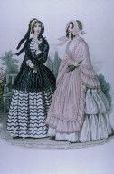Fashion Plate with Women Wearing a Coat and Shawl