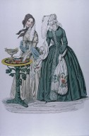 Fashion Plate of Women Wearing Shawls