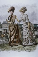 Fashion Plate Showing Dresses With a Draped Apron Effect