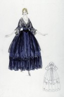 Blue and Black Evening Gown Over a Hooped Petticoat