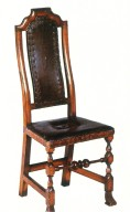 William and Mary Leather-Upholstered Side Chair