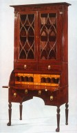 Mahogany Veneer Phyfe-Style Desk and Bookcase