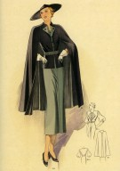 Dress and Caped Jacket Ensemble