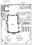 Plan for a Victorian Garden with a Greenhouse for a House