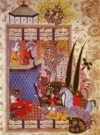 Firdawsi's Shahnama: Zal Climbing Rudaba's Balcony