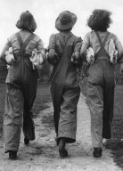 Land Army Girls with Chickens