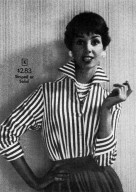 Three-Quarter Sleeve Striped Blouse