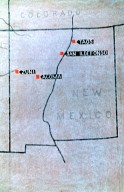 Map of New Mexico Showing Location of Pueblos