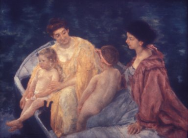 Two Mothers and Their Children on a Boat