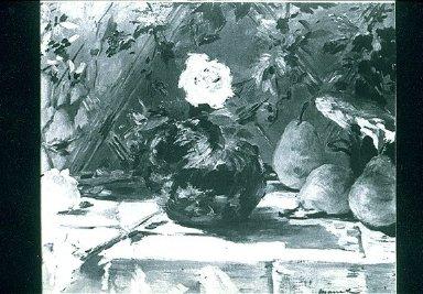 Still Life, Brioche, Flowers, Pears