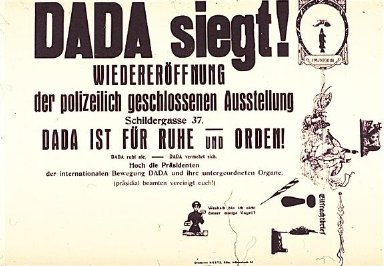 Dada Siegt (Dada Wins) Poster Celebrating the Reopening of the Dada Exhibition