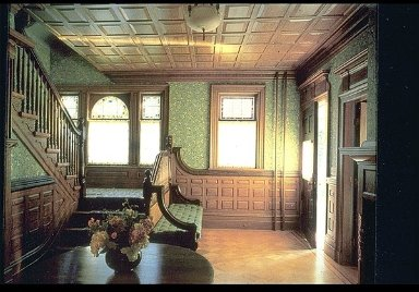 Interior with William Morris Wallpaper, Jasmine Light Green Pattern