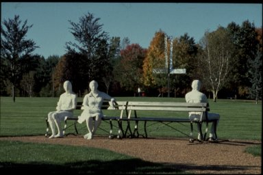 Three People on Four Benches