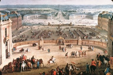 Perspective View of from the Chateau of Versailles of the Place d'Armes and the Stables