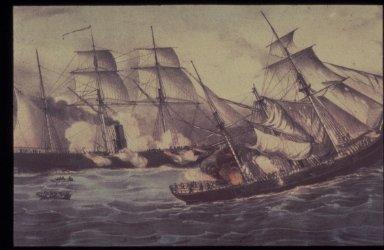 U.S. Sloop Kearsarge Sinking Pirate Ship Alabama, June 19, 1864