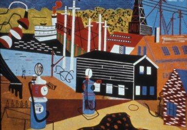 Landscape with Garage Lights