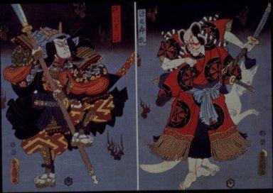 Kabuki Actors, Ichikawa Kodanji IV and Bando Kamezo