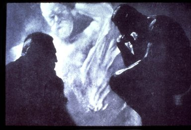 Portrait of Rodin with The Thinker and Monument to Victor Hugo