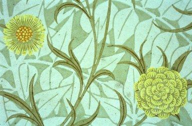 Scroll and Flower Wallpaper Series: Green