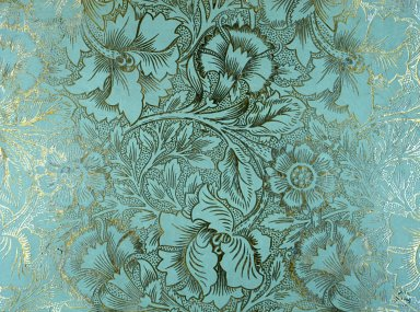 Pink and Poppy Wallpaper Series: Light Blue on Gilt